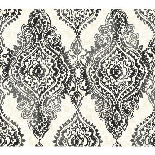 UPC 034878019437, York Wallcoverings WH2707 WallpapHer Boho Chic Wallpaper, Obsidian Black/Warm Alabaster