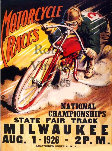 Amazon.com: Motorcycle Racing 1926 Cartel milwauke hogar de ...