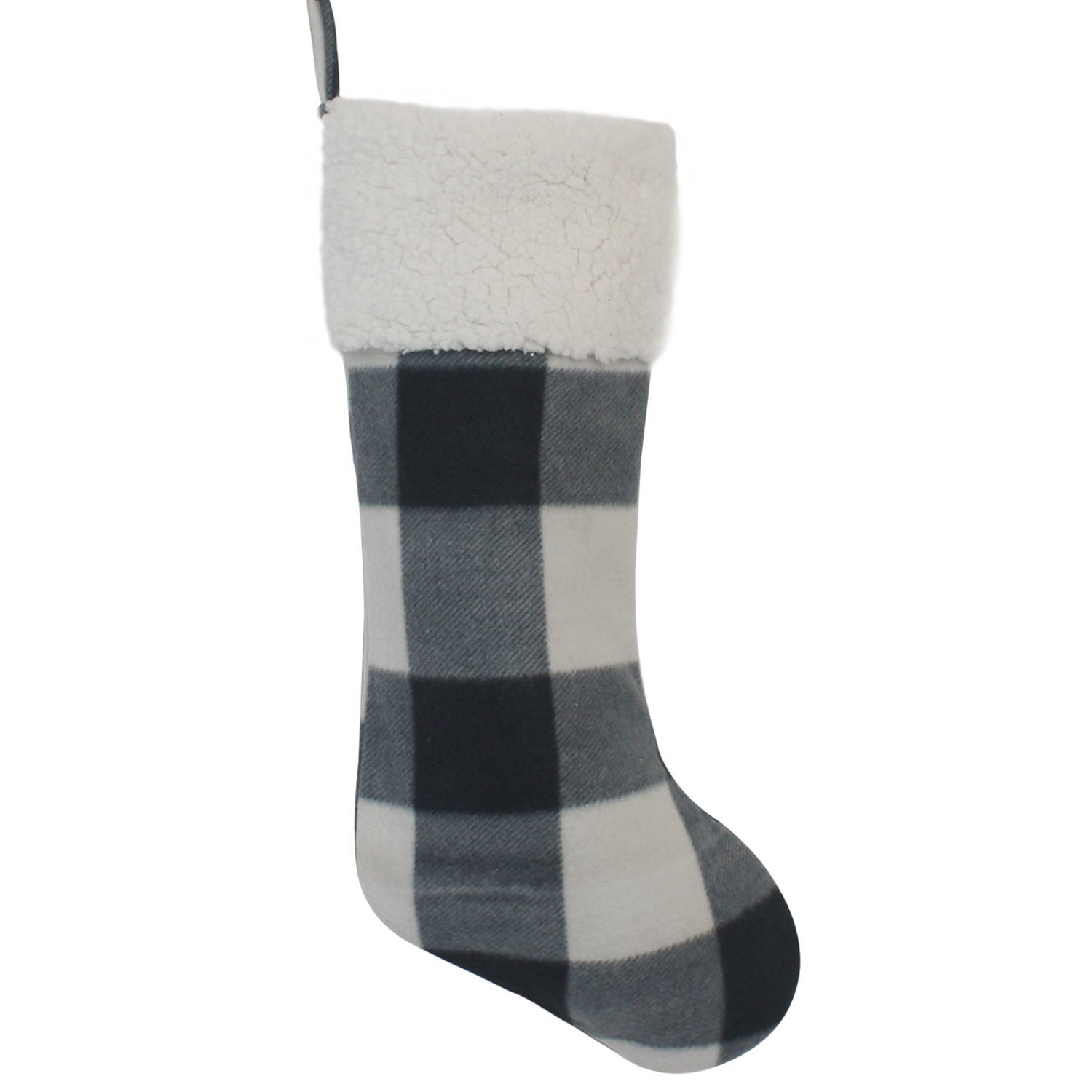 Gireshome Grey Buffalo Check Plaid with Sherpa Cuff Decoration Christmas Stocking Xmas Tree Decor Festival Party Ornament 10x18