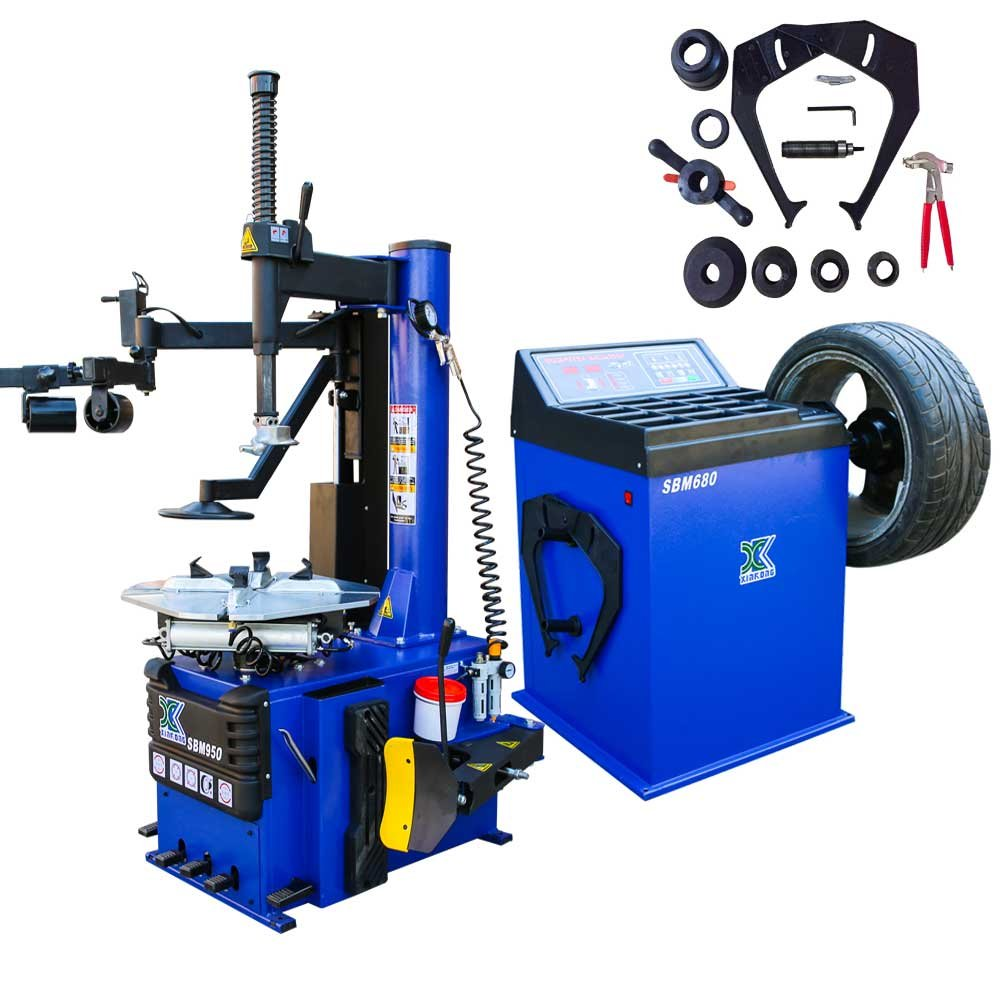 1.5 HP Automaticw Tire Machine Tire Changer Wheel Balancers Machine Rim Balancer Combo 960 680 Rim clamping 12'-24' w/ Auxiliary Arm and Air Bead Blaster Function HeFeiHang