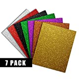 Easy Weed Glitter Heat Transfer Vinyl HTV Bundle for T Shirts, 12x10 inch, 7 Color Pack