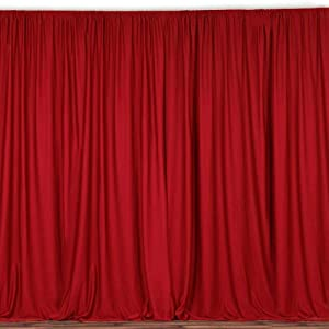 AK TRADING CO. 10 feet x 8 feet Polyester Backdrop Drapes Curtains Panels with Rod Pockets - Wedding Ceremony Party Home Window Decorations - RED