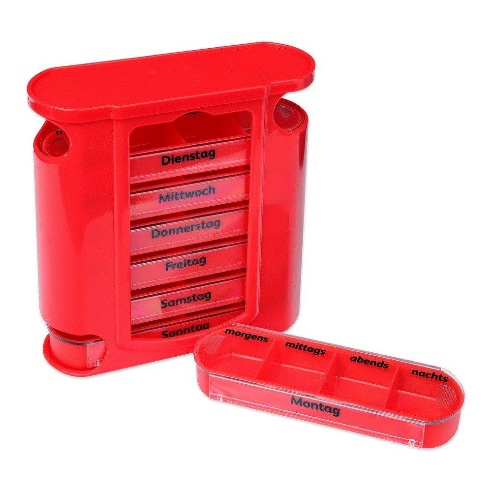 S/O® Pilulier 7jours rouge avec schiebern rouges Pilules Pilulier Boîte Tablette Boîte comprimés piluliers Boîtes Pilules comprimés boîte Semaine Doseur Schramm Onlinehandel