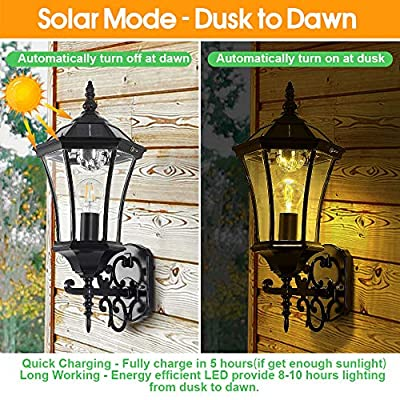 """Solar Wall Mount Light Outdoor, Wireless Dusk to Dawn Solar Wall Lantern, LED Wall Sconce Fixture with Clear Glass and Aluminum Housing, Weatherproof, 21"""" Large (Solar and Electric 2 in 1)"""