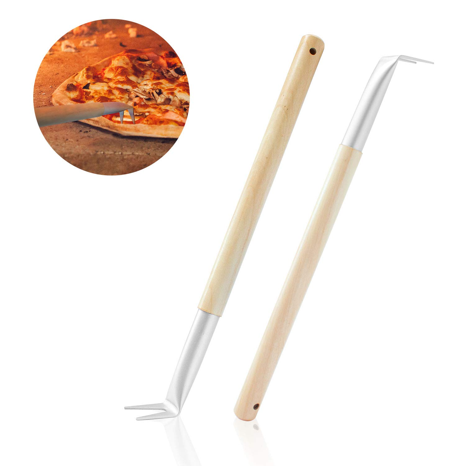 Aluminum 17.5 inch Pizza Spinner Turning Fork with Wooden Handle and Leather Strap (2-Pack) - Outdoor Pizza Oven Accessories