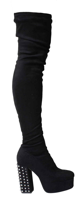 SilberMetallic Folie Über das Knie Oberschenkel Hoch Ferse Stiletto Stiefel