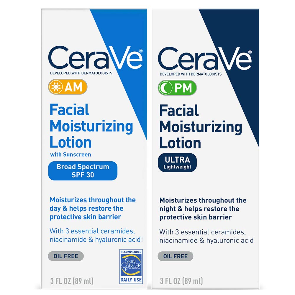 CeraVe Day & Night Face Lotion Skin Care Set | Contains CeraVe AM Face Moisturizer with SPF 30 and CeraVe PM Face Moisturizer | Fragrance Free