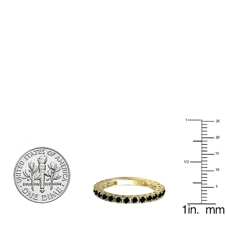 Dazzlingrock Collection 0.90 Carat (ctw) 14K Round Black Diamond Eternity Sizeable Wedding Band, Yellow Gold, Size 9 by Dazzlingrock Collection (Image #2)
