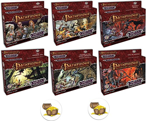 BUNDLE of All 6 Pathfinder Adventure Card Game Wrath of the Righteous Expansion Decks and 2 Treasure Chest Buttons
