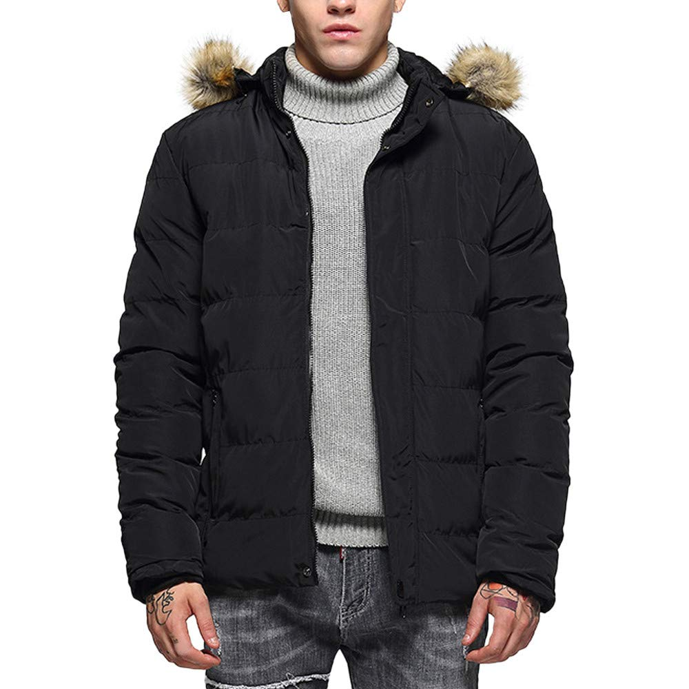 Rambling New Men\'s Fashion Hoodie Slim-Fit Parka Jacket Puffer Coat with Removable Faux-Fur Hood Trim