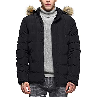 ae9e6a760b4 Rambling New Men s Fashion Hoodie Slim-Fit Parka Jacket Puffer Coat with  Removable Faux-
