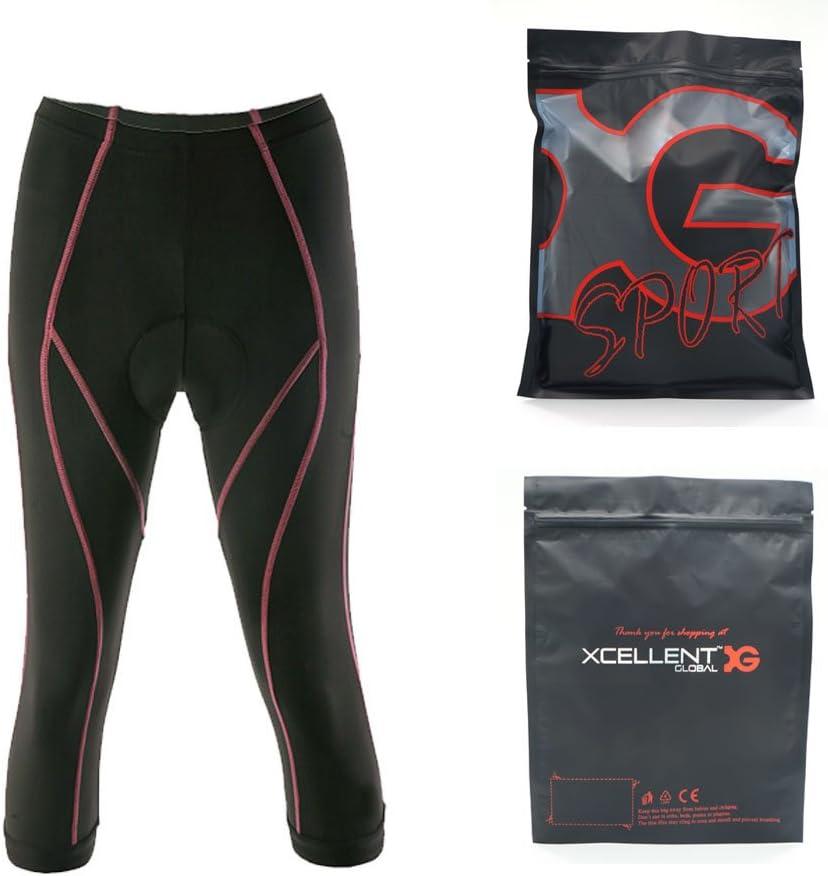 Negro FS027XXL Xcellent Global Culote de Mujer para Ciclismo Relleno 3D de Gel Pantalones Transpirable para Bicicleta Ajustados