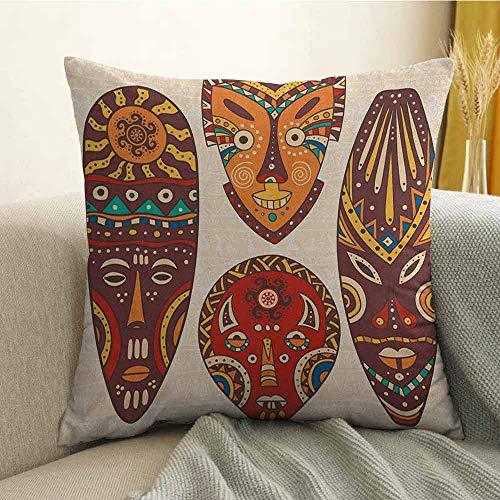 FreeKite Tiki Bar Microfiber Mask Designs African Aborigine Artwork Patterns Cultural Ethnic Hawaiian Print Sofa Cushion Cover Bedroom car Decoration W16 x L16 Inch Multicolor]()