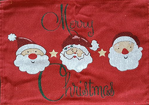 - Bungalow21 Merry Christmas Collection Santa Tapestry Placemats Set of 4