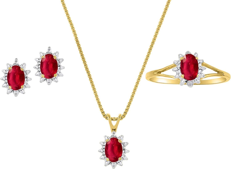 RYLOS - Juego de anillo, pendientes y collar para mujer, forma ovalada, piedra preciosa de color y diamantes brillantes auténticos en oro amarillo de 14 quilates, esmeralda de 6 x 4 mm, rubí y zafiro