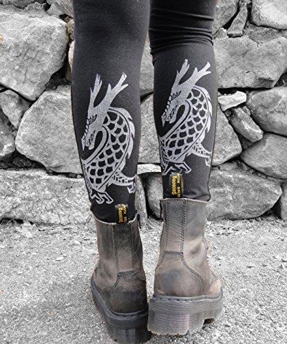 Organic Leggings, Yoga Leggings, Organic Cotton Leggings, Dragon Yoga Pants, Made in USA, Printed leggings, Wide Waistband, Yoga Clothing