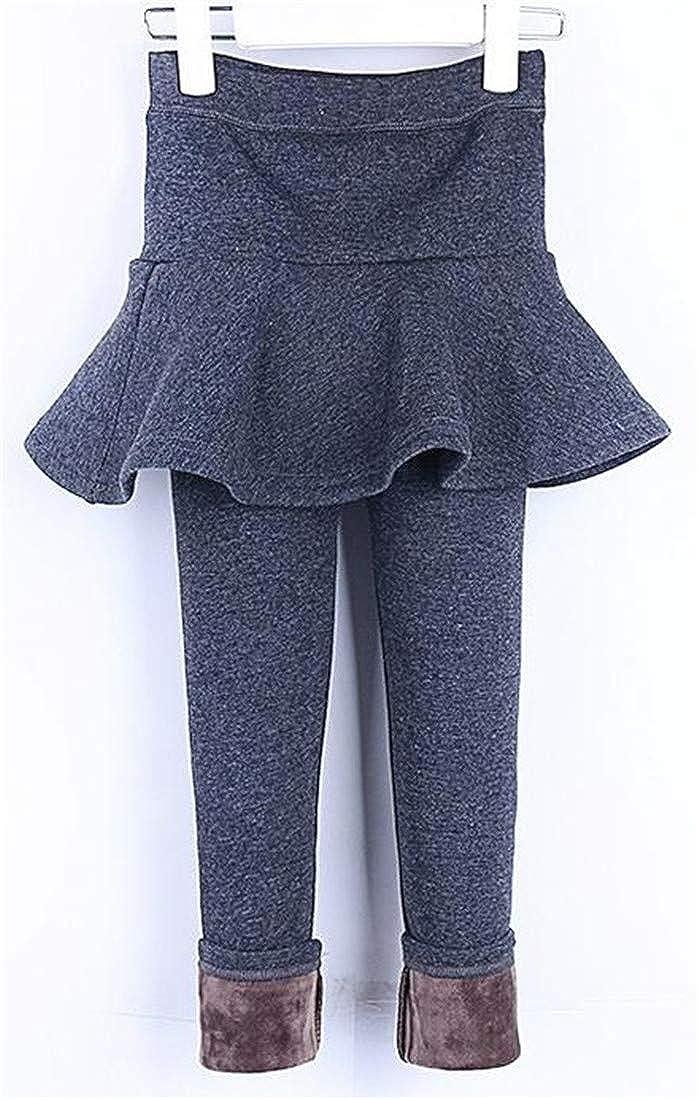 Pandapang Girls Winter Fleece Tights Fake Two Warm Thick Leggings Pants