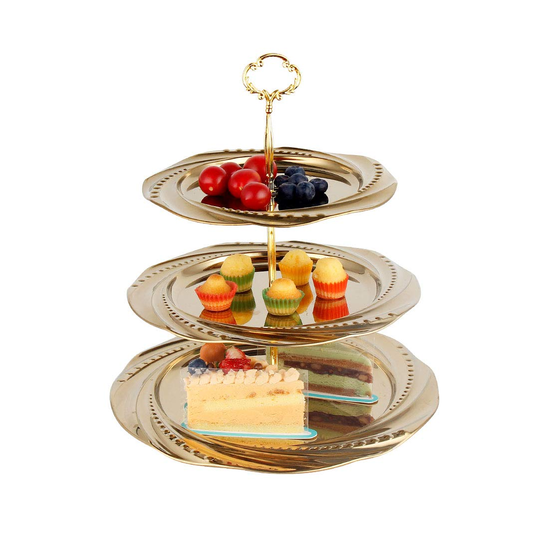 Cake Stand Desserts Fruit Plate Stainless Steel Cupcake Stand Fruits  Candy Buffet Plates Stand Serving Tray for Family Dinner Wedding House Birthday Party  Tea Party Serving Platter (3-Tier,Gold)