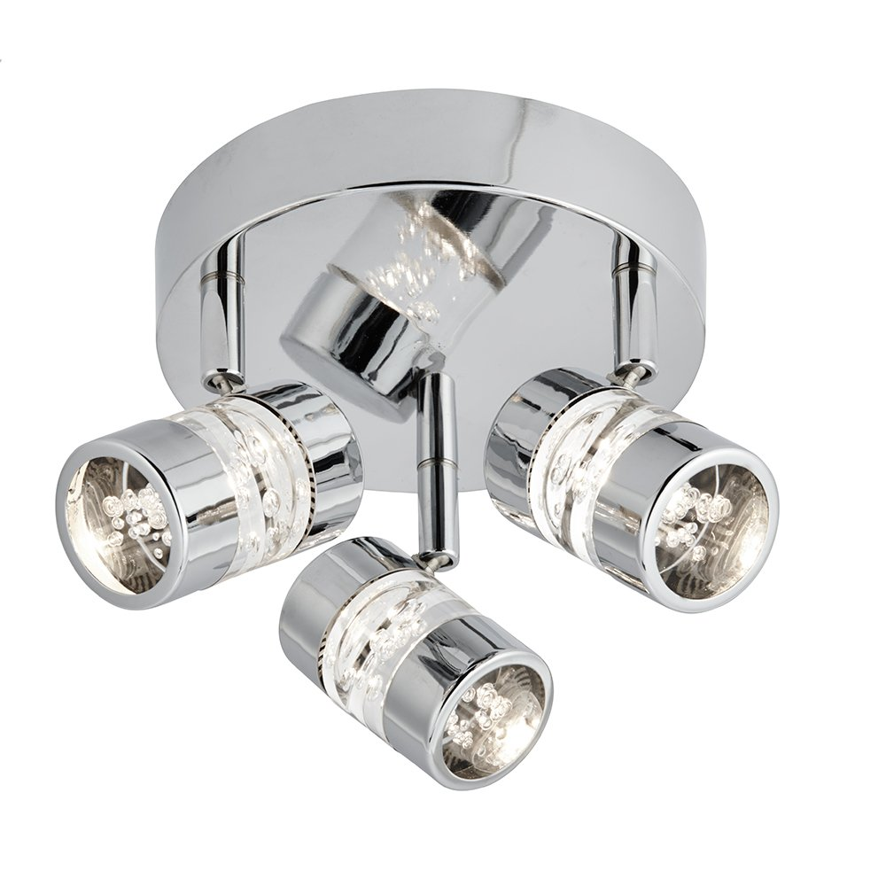 Searchlight Electric - LED Bathroom Polished Chrome Triple IP44 Round Plate Spot Light - 4413CC by Searchlight