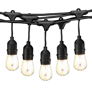 49Ft LED Outdoor String Lights, Commercial Globe Lights With 15 Edison  Vintage Dimmable Bulbs,