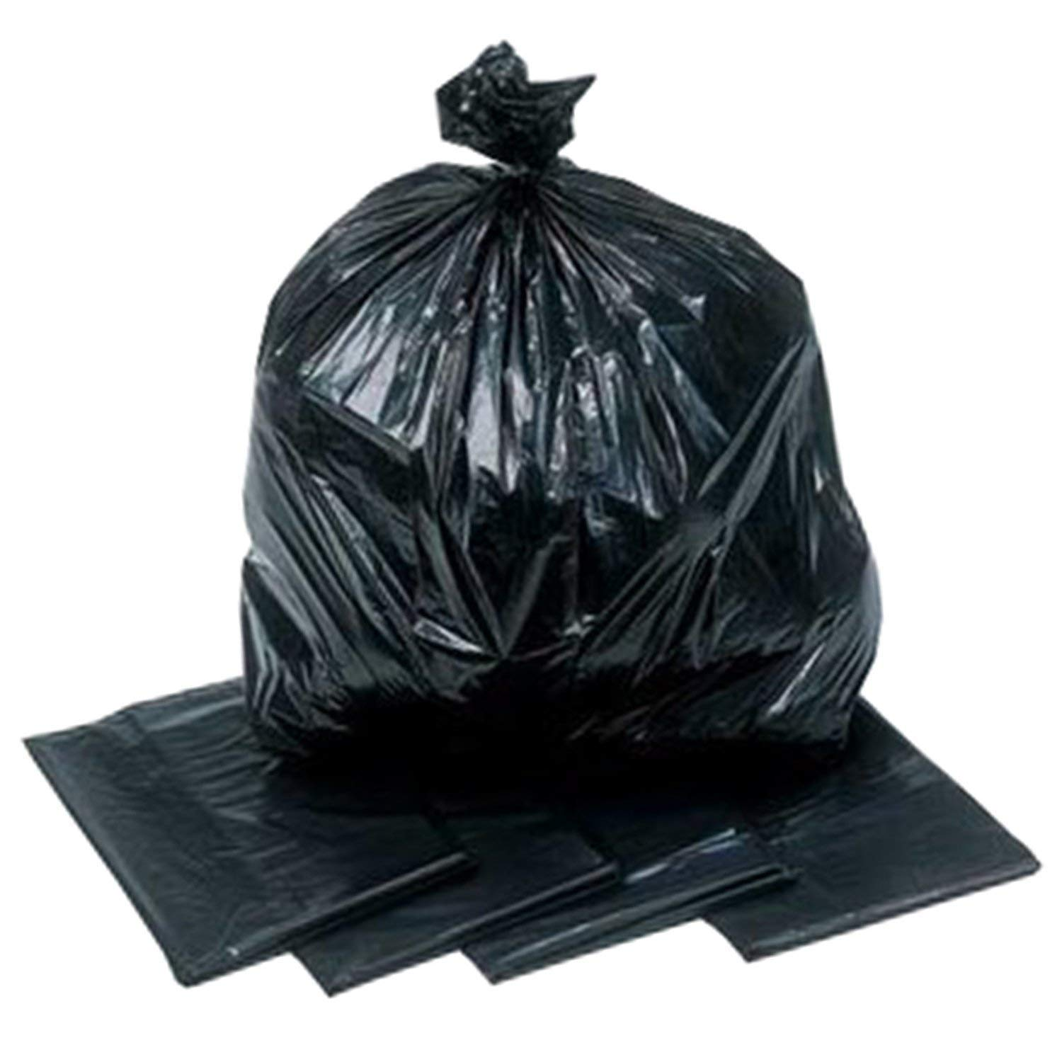 200 Large Black Plastic Bin Refuse Bags Sacks Liners Strong Heavy Duty 18x29x39/""