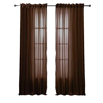 Peach Couture Solid Color Woven Curtains Sheer Window Panel Set Curtain, 55  X 84 Chocolate