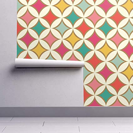 Peel And Stick Removable Wallpaper Mid Century Mod Mod Red