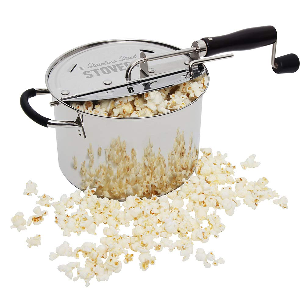 Time for Treats StovePop Stove-Top Popcorn Popper, 6 Quart, Stainless Steel