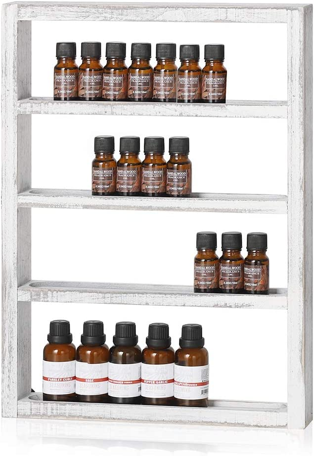 LIANTRAL Essential Oil Storage, Wall Mounted Wooden Display Shelf Rack for Essential Oils & Nail Polish, Rustic Grey White