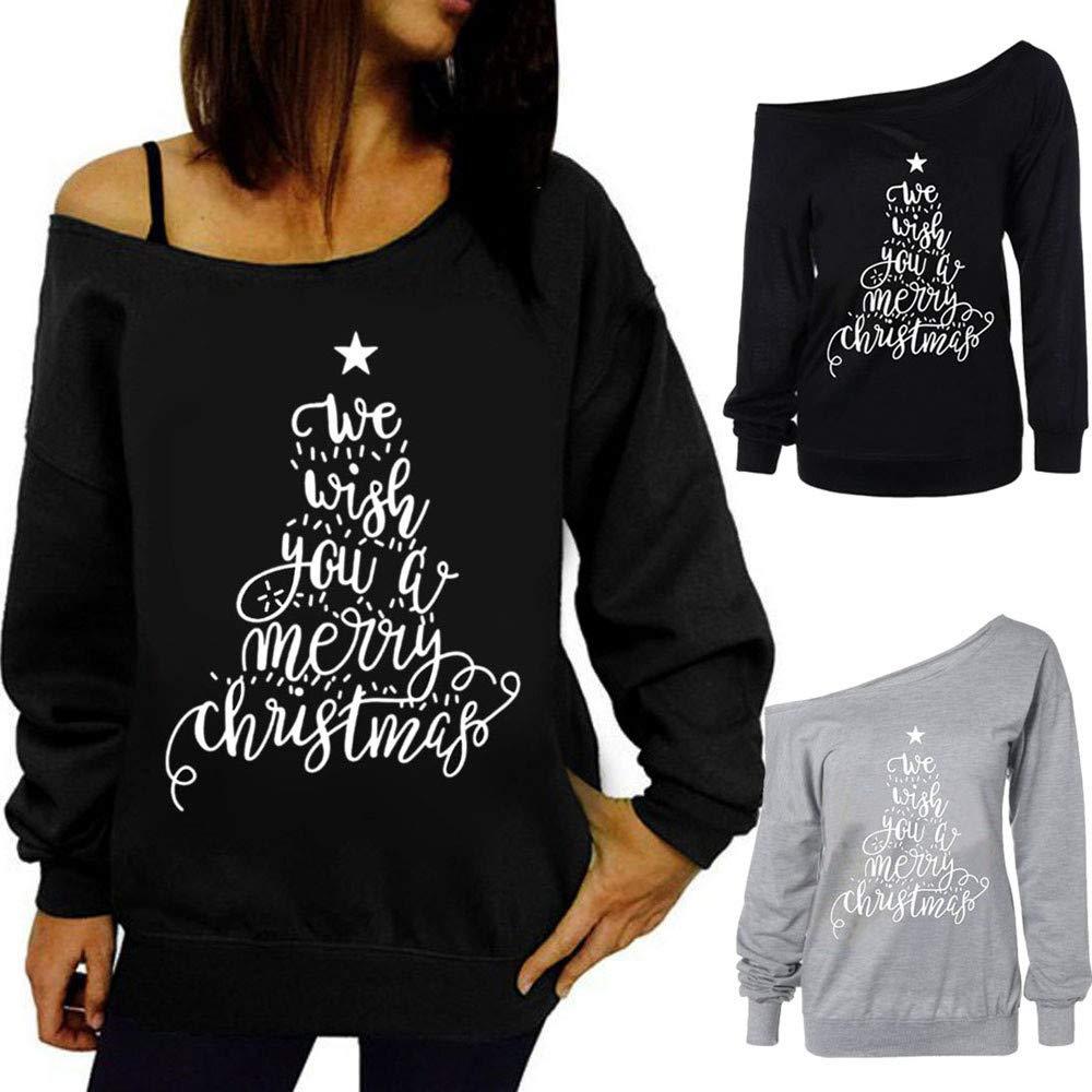 KAYLEY para Mujer Sudaderas Navideñas De Manga Larga Impresión de Navidad Hombro Casual Mujeres Tops Ropa Túnica Blusa Camisetas Suéter Outwear Jersey para ...