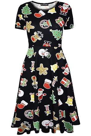 0f79ccc179df Fashion Star Womens Reindeer Santa Xmas Midi Skater Dress: Amazon.co.uk:  Clothing
