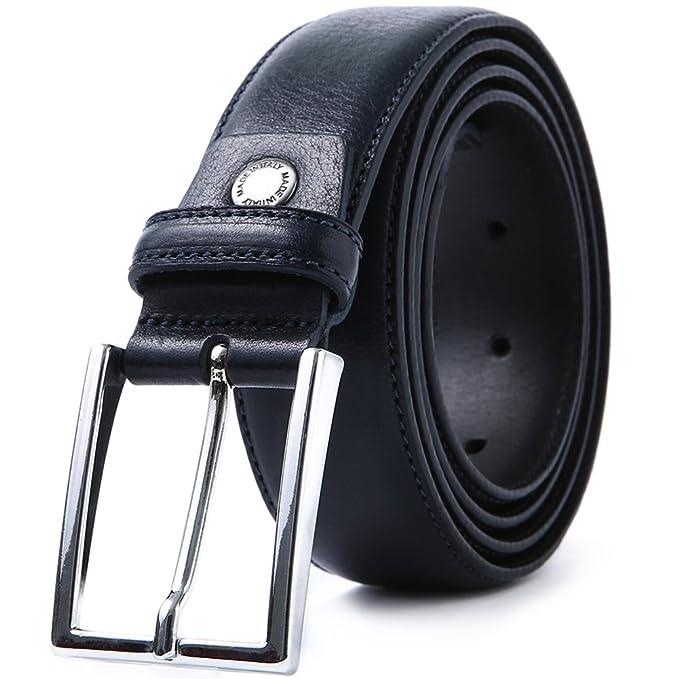 6d9a2e3394ad LUCHENGYI Cintura uomo vera pelle Made in Italy blu scuro 35MM confezione  regalo confezionata  Amazon.it  Abbigliamento