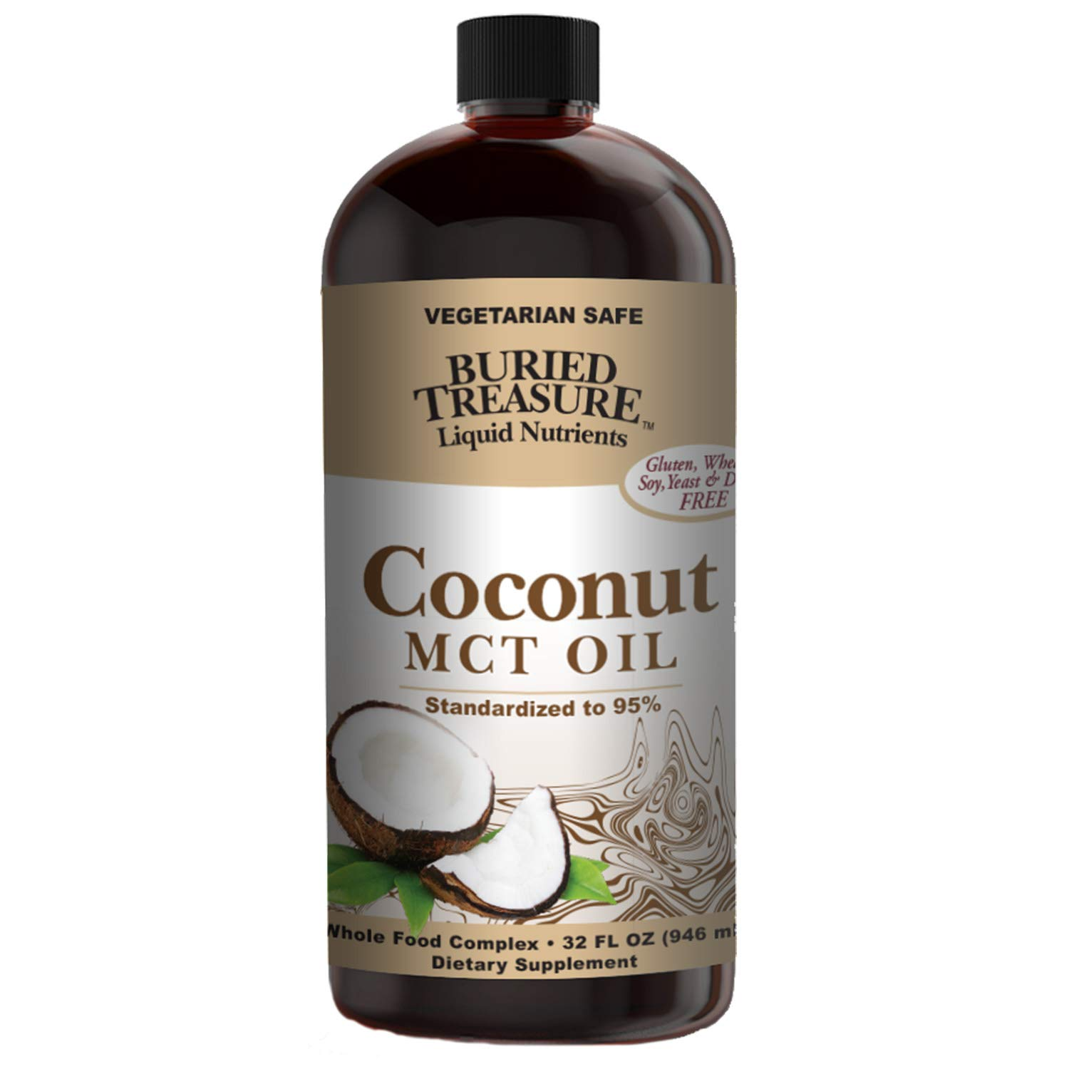 Buried Treasure MCT Coconut Oil for Healthy Brain Function Increased Performance Keto & Paleo Diet Safe Flash Steamed Medium Chain Triglycerides Great in Coffee, Smoothies & Salad Dressings 32 Ounce ... by Buried Treasure