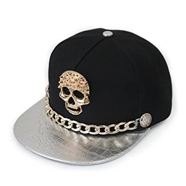 7ebfe5247cf Ambiel Hip-hop Adjustable Hat Metal Skull Studded Baseball Snapback Cap  with Chain (Silver