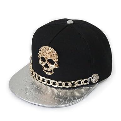 Ambiel Hip-hop Adjustable Hat Metal Skull Studded Baseball Snapback Cap  with Chain (Silver fcbb0b6fbbb