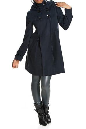 Laeticia Dreams Damen Mantel mit Kapuze Jacke XS S M L XL XXL  Amazon.de   Bekleidung acc22f9384