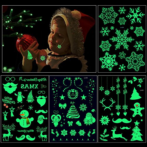 Christmas Glow in the Dark Tattoo(4Sheet 82Deigns), Konsait Christmas Luminous Glowing Temporary Tattoo Stickers Fake Tattoos Waterproof Party Favor Accessory Supplies Pack for Kids Women Man Children -