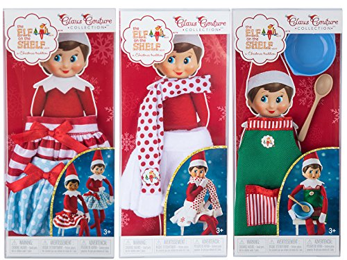 Bundle of 3 Elf on the Shelf Girl Outfits - Exclusive 2017 Snowflake Skirt, Twirling in the snow skirts and Claus Couture Sweet Shop Set Novelty, Green/ Red]()