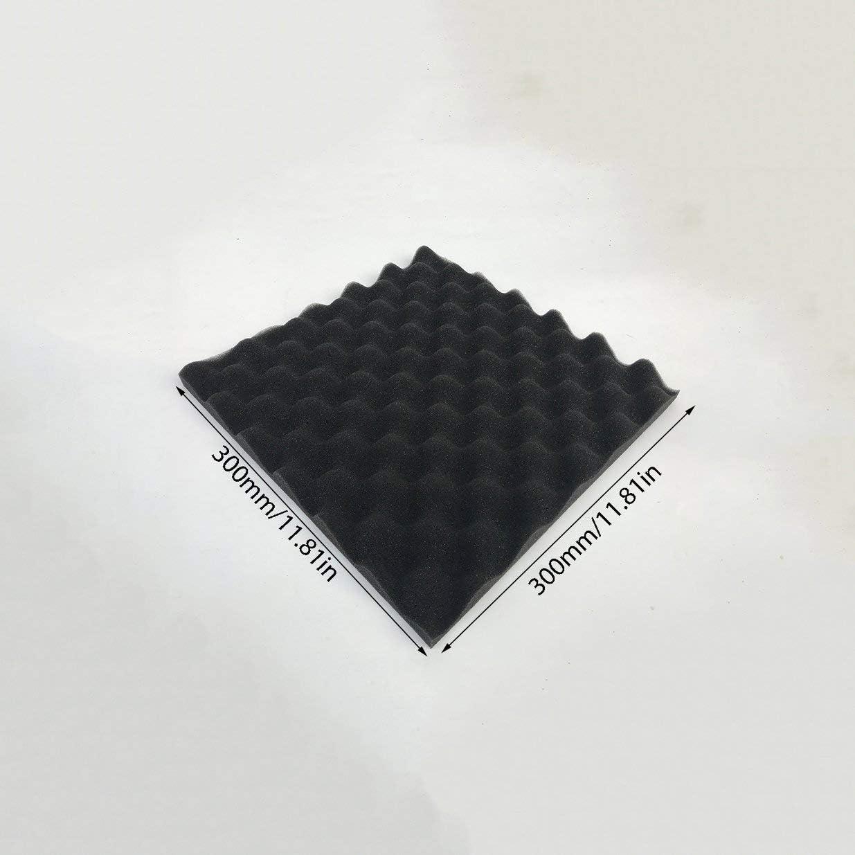 Traitement de mousse acoustique Sairis 30x30cm Insonorisation /Éponge acoustique /à absorption de bruit en coton Insonorisation excellente-noir