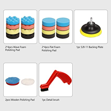 3Inch Polishing Pads 16Pcs Buffing Pads Wool Pads Buffing and Cutting Backing Plate for Car Polisher Polishing Multifunctional Cleaning Brush Artilife 21Pcs Car Foam Drill Polishing Pad Kit