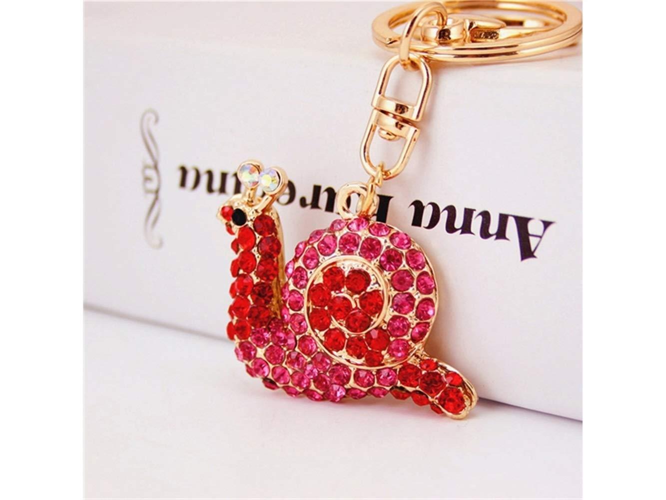 Car Keychain, Cute Small Snail Keychain Animal Key Trinket Car Bag Key Holder Decorations(Red) for Gift