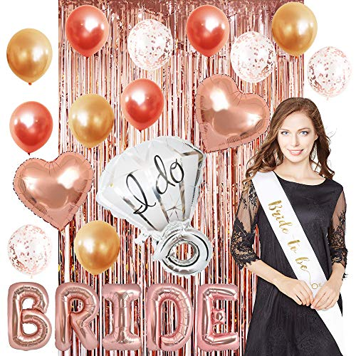 22 Pack. Bachelorette Party Decorations & Bridal Shower. Rose Gold Complete kit Includes Bride sash,Bride foil- Pink Metallic Ballons and Ring Foil Set Tribe Great Decoration Team Bride.HhddStoresco for $<!--$15.99-->