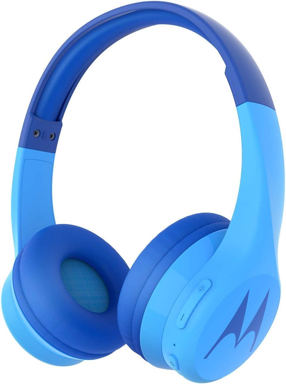 Motorola Squads 300 - Auriculares Bluetooth para Niños - 15hrs - Volumen limitado 85dB, Flexible y duradero, Protección auditiva y función para compartir música, Cojín antialérgico (sin BPA) - Azul