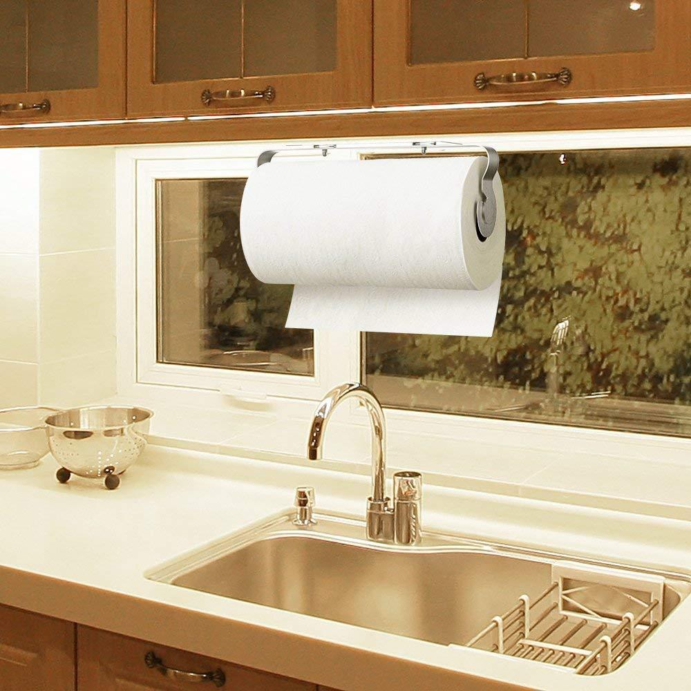 Kitchen Roll Holder,BangShou Paper Towel Dispenser Under Cabinet Sink/& Hotel Toilet Wall Mounted Self-Adhesive Stainless-Steel Tissue Hanger Towel Rack for Bathroom