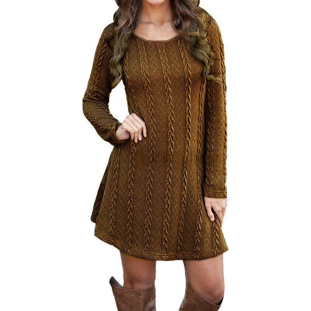 Chaofanjiancai Clearance Women's Knitted Crewneck Long Sleeve Jumper Slim Pullover Long Sweater Dresses Tops
