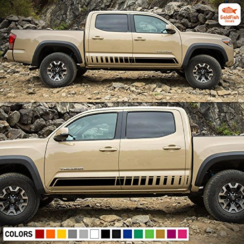 Set of Sport Side Door Bed Stripes Decal Sticker Vinyl Compatible with Toyota Tacoma Double Cab Sport Side Bed