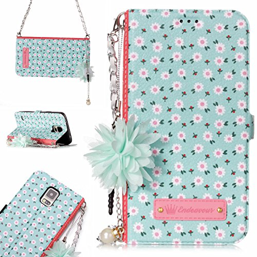 Price comparison product image Galaxy S5 Case,DAMONDY 3D Flowers Stand Wallet Purse Card Slot ID Holders Design Flip Cover Chain Strap Pocket Purse Leather Magnetic Protective for Samsung Galaxy S5-xiao ju