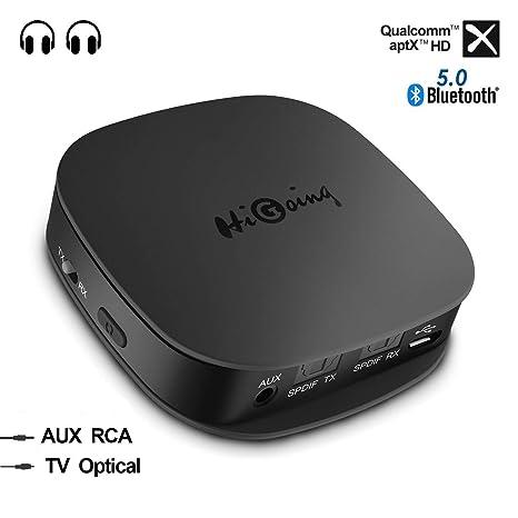 HiGoing Adaptador Bluetooth 5.0 Inalámbrico,Transmisor Receptor 2 en 1 con Toslink Óptico/SPDIF