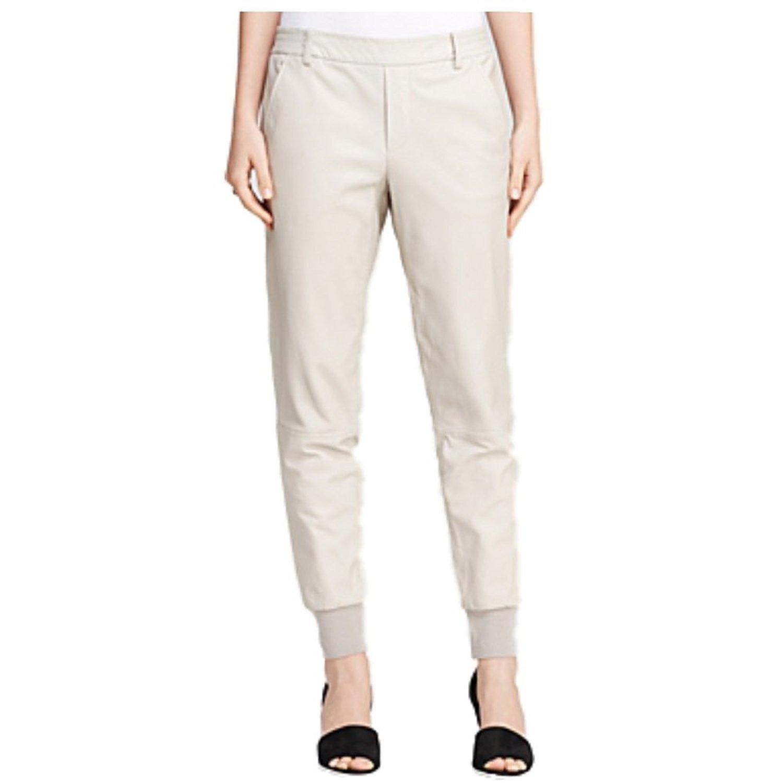 Vince Women's 100% Lamb Leather Jogging Joggers Track Sweatpants Design Pants (Beige, Large)