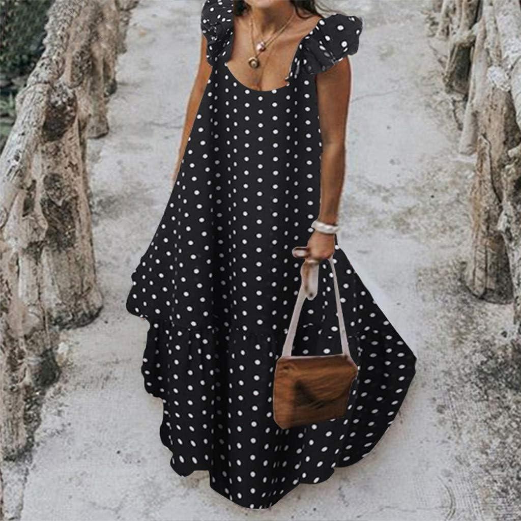 TTlove_Vestido maxi para mujer, estampado floral, hombros ...
